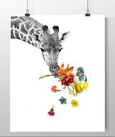 Hey! - print Mixed media Decorative art Animal painting drawing illustration Giraffe portrait happy POSTER 8x10