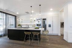 Modern Deco Kitchen Reveal The Block 2016 Week 8 Kitchen Reveals within Modern Deco Kitchen Reveal White Kitchen Cabinets, Kitchen Dining, Kitchen Decor, Cupboards, Kitchen Styling, Kitchen Island, Kitchen Ideas, Black Kitchens, Home Kitchens