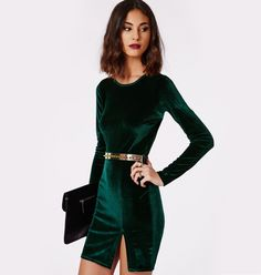 Party Clothes Casual - 35 Casual Christmas Party Outfits Ideas to Wear Right Now Vestidos Color Verde Esmeralda, Velvet Bodycon Dress, Velvet Dresses, Mini Vestidos, Holiday Outfits, Holiday Party Outfit, Holiday Parties, Mode Style, Look Fashion