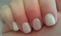 White glitter gel nails