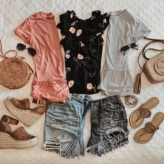 Casual and affordable fashion and style flatlay, marc fisher wedges, tory burch miller sandals, free people shorts, nordstrom Fashion Blogger Liveloveblank.com