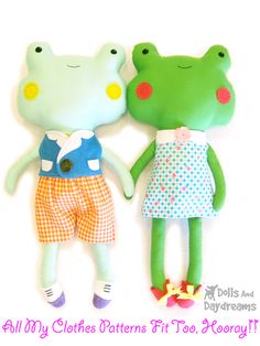 * Dolls And Daydreams - Doll And Softie PDF Sewing Patterns: Frog Toad Stuffed Toy Softie PDF Sewing Pattern Finished