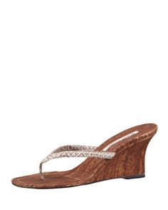 b310eae81be903 Manolo Blahnik Patwedfac Snake-Strap Thong Wedge Sandal