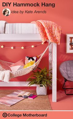 Lofted beds provide just enough space for a cozy nook at college. Hang a hammock and add a rug, chair, lamp and some magazines. Perfect for entertaining, or more preferably, studying. Casa Kids, Diy Hammock, Hammock Ideas, Room Hammock, Indoor Hammock, Hammocks, Cozy Nook, Bed Nook, Cozy Bed