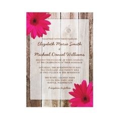 Pink Daisy Rustic Barn Wood Wedding Invitations. Ideal for a country-themed wedding. :)