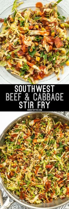 This Southwest Beef and Cabbage Stir Fry is a fast, easy, and flavorful way to make sure dinner is filled with plenty of vegetables. @budgetbytes