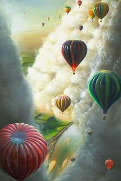 Beautiful Hot Air Balloons in the Clouds Mural - Pretty Pictures, Cool Photos, Air Balloon Rides, Hot Air Balloons, Balloon Race, Air Ballon, Colourful Balloons, Art Photography, Scenery