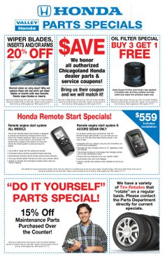 For Honda Parts Deals we currently have 0 coupons and 0 deals. Our users can save with our coupons on average about $ Todays best offer is. If you can't find a coupon or a deal for you product then sign up for alerts and you will get updates on every new coupon added for Honda Parts Deals.