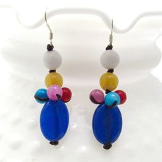 Colorful Beauty Blue Drop Mix Stone Handmade Earrings