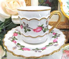 Vintage France Painted Roses Demi Cup and Saucer