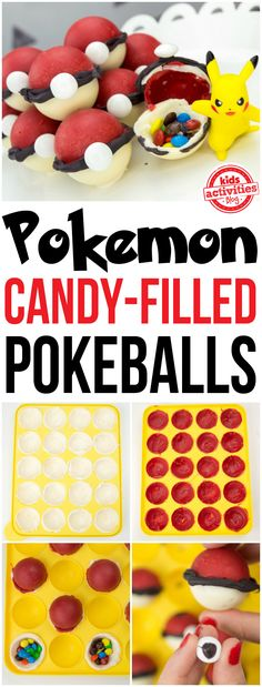 Pokemon Candy Pokeballs Pokemon Candy-Filled Pokeballs are perfect for a birthday party or when you're out hunting new additions for Pokemon Go! Pokemon Candy, Pokemon Craft, Pokemon Go, Pokemon Cupcakes, Edible Crafts, Homemade Candies, Candy Melts, Sweet Treats, Hunting