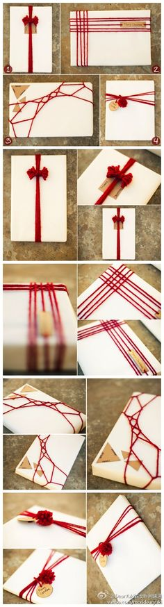 21 Delightful Ways To Make Homemade Holiday Gifts - If you're feeling adventurous in your gift wrapping, use yarn to make creative patterns and bows. Creative Gift Wrapping, Present Wrapping, Creative Gifts, Wrapping Ideas, Paper Wrapping, Japanese Gift Wrapping, Christmas Gift Wrapping, Christmas Crafts, Christmas Decorations
