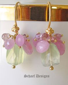 Pink & Lavender Sapphires Prehnite & 22kt Gold Vermeil Gemstone Earrings | Petite Luxe Collection | Online upscale artisan handcrafted gemstone jewelry boutique | Schaef Designs Gemstone Earrings | San Diego, CA