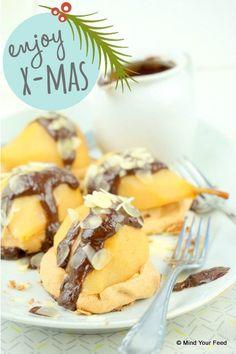Chocolade meringue taartje met stoofpeer - Mind Your Feed