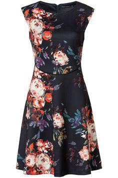 6d3bb75a82e A-lijn jurk met bloemenprint Blauw Jurken Met Korte Mouwen, Ruffles,  Carnaval