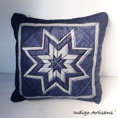 Denim cushion jeans pillow fabric origami star par IndigoArtisans