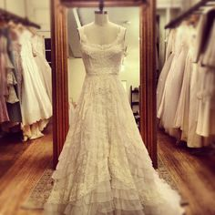 1970's Lace wedding gown with organza ruffles