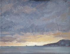 Sunrise over Portland Harbour, Dorset after a night of rain. Painted in oil on canvas board.