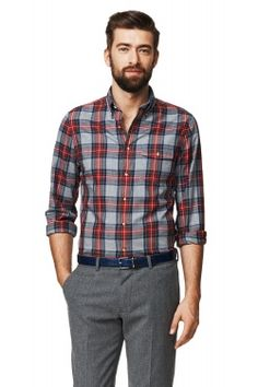 Windham Twill Check Fitted Button Down Shirt Smart Casual, Men Casual, Suit Fashion, Mens Fashion, Casual Shirts, Casual Outfits, Well Dressed, Shirt Outfit, Button Down Shirt