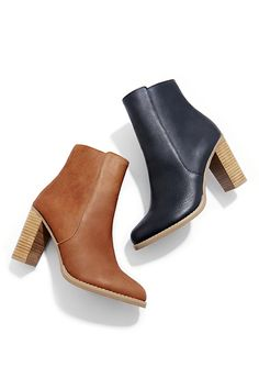 Stacked heel leather booties in cognac and black   Sole Society Micah