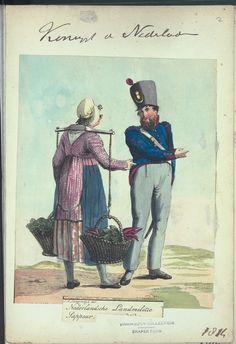 "Dutch working woman c. 1814. ""Nederlandsche Landmilitie Sappeur."" with a vegetable-seller. print by Jan Anthonie Langendijk, 1814. From New York Public Library Digital Collections."
