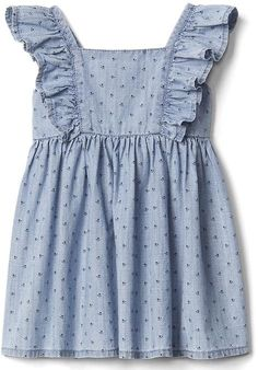 Floral chambray flutter dress