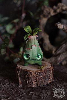 Sprout Cute Fantasy Creature Art Toy handmade ooak by RiokyStudio