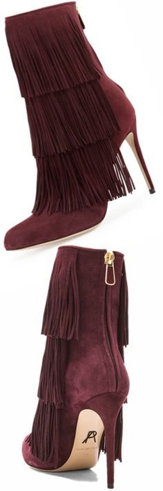 Paul Andrew Taos Suede Fringe Ankle Boot, Cordovan