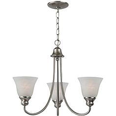 @Overstock - This Windgate 3-light chandelier features a brushed nickel finish. The alabaster glass adds elegance to this lighting fixture.http://www.overstock.com/Home-Garden/Windgate-3-light-Brushed-Nickel-Chandelier/5197551/product.html?CID=214117 $114.00