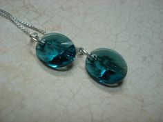 Teal Oval Swarovski Crystal on Sterling Silver Ear Threads- Threader Earrings-Necklace-FREE SHIPPING To U.S. by LeasEarThreads on Etsy