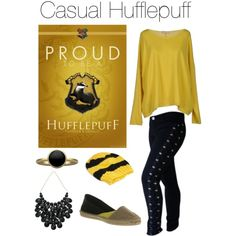 Polyvore- Casual Hufflepuff Harry Potter outfit