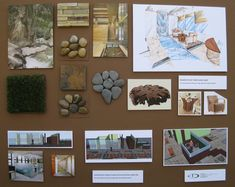 Nature inspired commercial office - interior design material board; hand rendering that brings the outdoor in with exotic furniture, decorative rocks, indoor waterfall