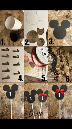 Diy step by step Mickey and Minnie Mouse cupcake toppers