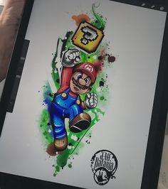 Mario Bros! Quem nunca perdeu uns dias de vida jogando esse clássico, desenho disponível que to bem afim de tatuar! #rataria #tattoo #drawing #desenho #watercolor #aquarela #ipadpro #procreate, mario bros, illustration, ilustração, super mario, desenho, desenhos, desenho pra tattoo