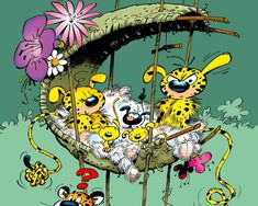 Marsupilami is a fictional comic book species created by André Franquin, first published on 31 January 1952 in the magazine Spirou.The marsupilami is a black-spotted yellow monkey-like creature. Bd Comics, Manga Comics, Cartoon Shows, Cartoon Characters, Canvas Poster, Poster Prints, Nostalgia, Widescreen Wallpaper, Humor Grafico