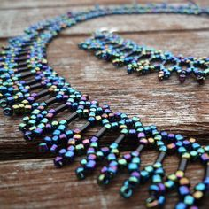 Peacock blue and black beadwork netted necklace - Folksy