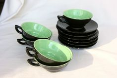 Tea set Mint green kitchen antique French espresso cups, Halloween decor tea cups, Art Deco French bistro kitchen, French cafe, set of 5. $42.00, via Etsy.