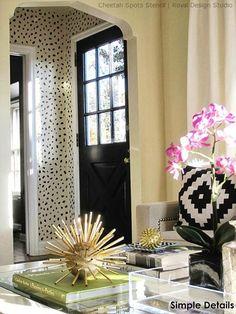 Cheetah Spots Wall Stencil and black doors/white trim