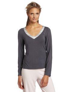 Calvin Klein Women's Essentials With Satin Long Sleeve V-Neck Top Calvin Klein. $42.00. V-neck. Satin trim. Machine Wash. 94% Modal/6% Lycra