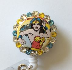 DC Comics Wonder Woman Decorative Retractable Reel Badge/ID Holder with Charm/Beads by Lindasbadgeboutique on Etsy