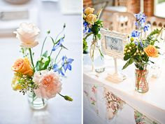 Mix and match jars for wedding day decor.