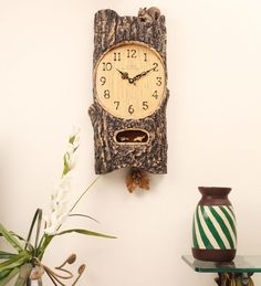 E-Studio Cuckoo Clock Bamboo Large -Dark Wood