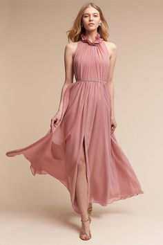 Wedding Dress Simple, Attractive Chiffon High Collar Neckline A-line Bridesmaid Dresses With Beadings, We sell gorgeous, affordable wedding dresses available in a variety of styles & sizes. Our wedding gowns are made to order. Browse our wedding dresses Dusty Rose Bridesmaid Dresses, Bridesmaids, Pink Dresses, Elegant Dresses, Engagement Outfits, Engagement Photos, Floor Length Dresses, High Collar, Dame
