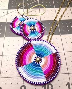 Fuschia & turquoise set $85 #beadwork #beadedearrings