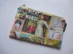 Retro Night Nurses Canvas Zipper Pouch by GoGidgetGo on Etsy, $13.95