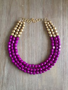 Radiant Orchid and Gold Statement Necklace by icravejewels on Etsy