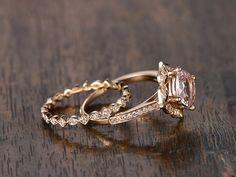 8mm Cushion Cut Pink Morganite Engagement Ring Set Morganite