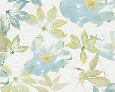 Grüne und blaue Blumen auf einer Vliestapete. Esprit  von A.S. Création