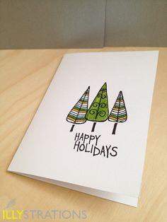 Christmas Trees notecard. $4.50, via Etsy.