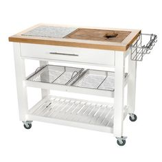 "Features:  -Pro Chef collection.  -Chop and drop.  -Trash ring.  -Oversize towel bar with fixed ""S"" hooks.  -Speed rack.  -Granite and wood surface.  Product Type: -Kitchen Island/Butcher Block.  Base"